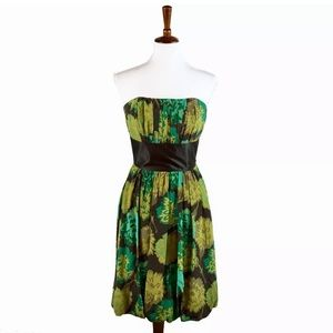 Green Anthropologie Tracy reed strapless dress 🌿